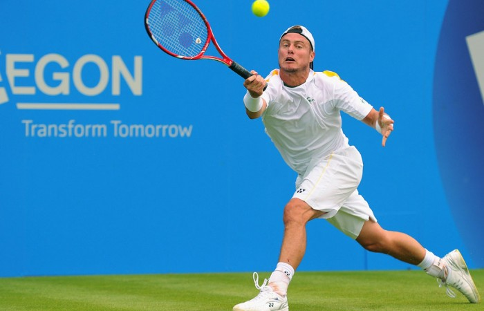 Having ousted Grigor Dimitrov in the second round, Lleyton Hewitt continued his winning ways at the AEGON Championships against Sam Querrey in the last 16 - he's seen here playing a forehand in that match; Getty Images