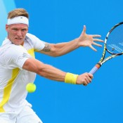 Aussie qualifier Sam Groth plays a backhand in his first round loss to Lukas Rosol of the Czech Republic at Queen's Club; Getty Images