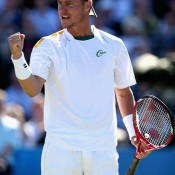 Lleyton Hewitt celebrates victory over Juan Martin del Potro in the quarterfinals of the AEGON Championships at Queen's Club in London; Getty Images