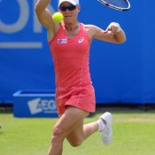 Sam Stosur, seen playing a forehand against Lucie Safarova, led in the opening set before falling 7-6(5) 6-3 to the Czech in the second round of the AEGON International in Eastbourne, England; Getty Images