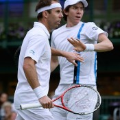 Paul Hanley (left) and JP Smith during their four-set win over Philipp Marx and Florin Mergea. GETTY IMAGES