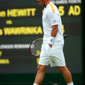 A pumped up Lleyton Hewitt during his straight-sets victory over 11th seed Stanislas Wawrinka. GETTY IMAGES