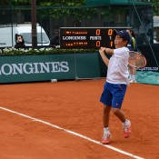 Rinky Hijikata in action in his match at the Longines Future Tennis Aces event at Hotel de Ville in Paris, France; Tennis Australia