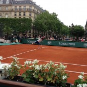 Rinky Hijikata serves in his Longines Future Tennis Aces match at Hotel de Ville in Paris; Tennis Australia