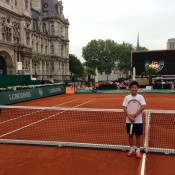Rinky Hijikata poses on the Longines Future Tennis Aces match court at Hotel de Ville in Paris; Tennis Australia