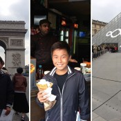 Rinky Hijikata took time out after his match at the Longines Future Tennis Aces tournament to go sight-seeing, visiting the Arc de Triomphe (L), eating crepes and visiting the Louvre (R); Tennis Australia