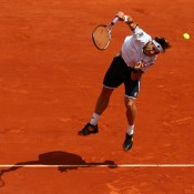 David Ferrer of Spain deploys a kick-serve at the 2013 French Open in Paris, France; Getty Images