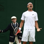 Marinko Matosevic makes his feelings known during his first-round loss to Guillaume Rufin. GETTY IMAGES