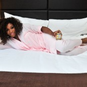 Serena Williams attends Sleep Sheets Launch at Empire Hotel on April 27, 2012 in New York City; Getty Images for Sleep Sheets