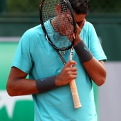 Nick Kyrgios, the No.1 seed,  was eventually upset in the second round of the French Open juniors by unseeded Russian Karen Khachanov at Roland Garros; Getty Images
