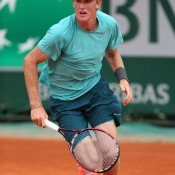 Harry Bourchier runs for a shot during his three-set boys' singles first round loss to Jorge Brian Panta of Peru on Day 8 of the French Open at Roland Garros; Getty Images