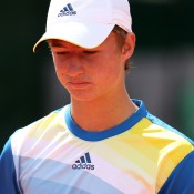 Omar Jasika was unlucky to draw No.2 seed Nikola Milojevic of Serbia in his boys' singles first round match at the French Open; Getty Images