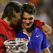 Rafael Nadal and Roger Federer, Australian Open, 2009, Melbourne. GETTY IMAGES