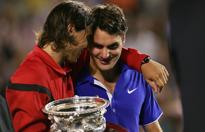 Rafael Nadal and Roger Federer, Australian Open, 2009, Melbourne. GETTY IMAGES