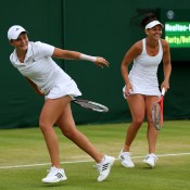 Ash Barty (left) and Casey Dellacqua on their way to the women's doubles final, Wimbledon, London, 2013. GETTY IMAGES