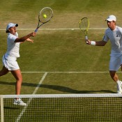 Wimbledon 2013 mixed doubles quarterfinalists John Peers (left) and Ash Barty. GETTY IMAGES