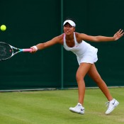 Lizette Cabrera won through the qualifying rounds before being defeated in the first round of the Wimbledon 2013 girls' championships. GETTY IMAGES