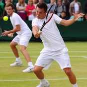 Brad Mousley (left) and Jay Andrijic during their quarterfinal loss in the Wimbledon 2013 boys' doubles championships. GETTY IMAGES