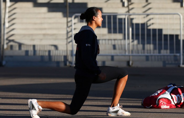 Anne Keothavong of Great Britain stretches during the Argentina and Great Britain Fed Cup tie in April 2013; Getty Images
