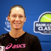 Sam Stosur speaks at a press conference prior to her first match at the WTA Bank of the West Classic in Stanford, California; Getty Images
