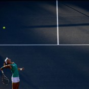 Sam Stosur serves to Olga Govortsova of Belarus during their second round match at the WTA Bank of the West Classic at Stanford University in Stanford, California; Getty Images