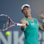 Sam Stosur plays a forehand against Olga Govortsova of Belarus during their second round match at the Bank of the West Classic in Stanford, California; Getty Images