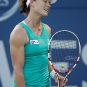 Sam Stosur shows her frustration during her shock 6-2 6-4 loss to Olga Govortsova of Belarus in the second round of the Bank of the West Classic in Stanford, California; Getty Images