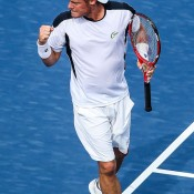 Lleyton Hewitt celebrates on his way to a 6-4 6-4 first-round victory over Edouard Roger-Vasselin of France at the BB&T Atlanta Open; Getty Images