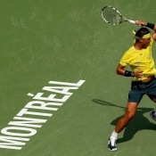 In his first match back since falling in the first round at Wimbledon, Rafael Nadal romped to a 6-2 6-0 win over Jesse Levine of Canada in the second round of the ATP Rogers Cup in Montreal, Quebec, Canada; Getty Images