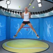 Agnieszka Radwanska of Poland is photographed in the Fan Cam at the Xerox booth on Day 4 of the WTA Rogers Cup in Toronto, Canada; Getty Images