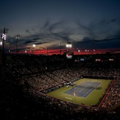A spectacular sunset over Uniprix Stadium, the home of the ATP Rogers Cup in Montreal, Canada; Getty Images