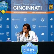 Marion Bartoli of France tearfully announces her retirement from professional tennis during a press conference following her second-round loss to Simona Halep at the Western & Southern Open in Cincinnati, Ohio; Getty Images