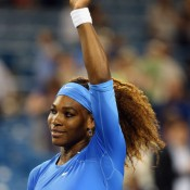 Serena Williams celebrates her comprehensive 6-4 6-1 win over Mona Barthel of Germany in the third round of the Western & Southern Open in Cincinnati, Ohio; Getty Images