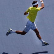 An airborne Juan Martin Del Potro plays a forehand during his three-set quarterfinal victory over Russian qualifier Dmitry Tursunov at the Western & Southern Open in Cincinnati, Ohio; Getty Images