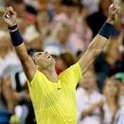 Rafael Nadal of Spain celebrates his quarterfinal win over Roger Federer of Switzerland at the Western & Southern Open in Cincinnati, Ohio; Getty Images