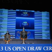 The US Open women's singles trophy (L) and men's singles trophy are seen during the draw ceremony at the USTA Billie Jean King National Tennis Center on August 22, 2013 in New York City; Getty Images for the USTA