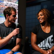 Defending US Open champions Serena Williams (R) of the United States and Andy Murray of Great Britain at the draw ceremony prior to the 2013 US Open at the USTA Billie Jean King National Tennis Center in New York City; Getty Images for the USTA