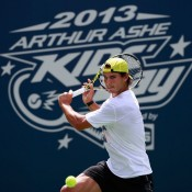 Rafael Nadal of Spain returns a shot during practice prior to the start of the 2013 US Open in New York City; Getty Images for the USTA