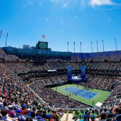 A general view of Arthur Ashe Stadium during Arthur Ashe Kids' Day prior to the start of the 2013 US Open in sunny New York City; Getty Images for the USTA