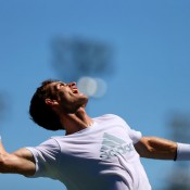 Andy Murray serves during a practice session ahead of the 2013 US Open at USTA Billie Jean King National Tennis Center; Getty Images