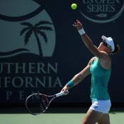 Sam Stosur serves during her first round win over Varvara Lepchenko at the WTA Southern California Open at La Costa Resort & Spa in Carlsbad, California; Getty Images