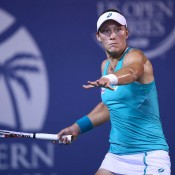 Sam Stosur plays a forehand during her 6-4 6-1 second round victory over Sesil Karatantcheva of Kazakhstan at the WTA Southern California Open in Carlsbad, California; Getty Images
