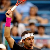 Marinko Matosevic acknowledges the crowd after defeating Milos Raonic in the third round of the ATP/WTA Citi Open in Washington, DC; Getty Images