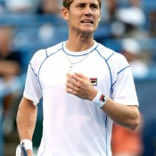 Matthew Ebden of Australia reacts to a point during his three-set loss to Mardy Fish in the first round of the ATP/WTA Citi Open in Washington, DC; Getty Images