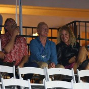 Rod Laver (centre) attends the second round match between Sam Stosur and Sesil Karatantcheva at the WTA Southern California Open in Carlsbad, California; Getty Images