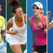 (L-R) Nick Kyrgios, Casey Dellacqua, Anastasia Rodionova and Olivia Rogowska all progressed to the final round of US Open qualifying on Thursday; Getty Images