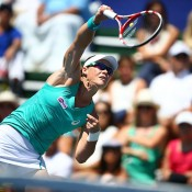 Sam Stosur hits an overhead shot during the final against Victoria Azarenka at the WTA Southern California Open in Carlsbad, California; Getty Images