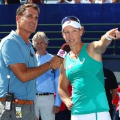 Sam Stosur (R) is interviewed after winning the final of the Southern California Open over Victoria Azarenka in Carlsbad, California; Getty Images