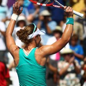 Sam Stosur waves to the crowd after defeating Victoria Azarenka 6-2 6-3 in the final of the Southern California Open at La Costa Resort & Spa in Carlsbad, California; Getty Images