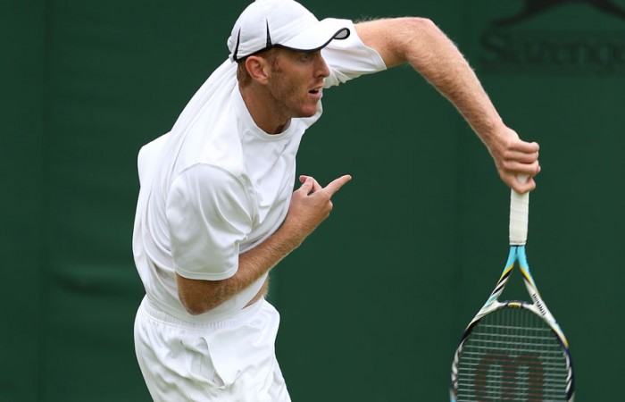 Chris Guccione during his doubles first round match with Samuel Groth at the 2013 Wimbledon Championships in London, England; Getty Images